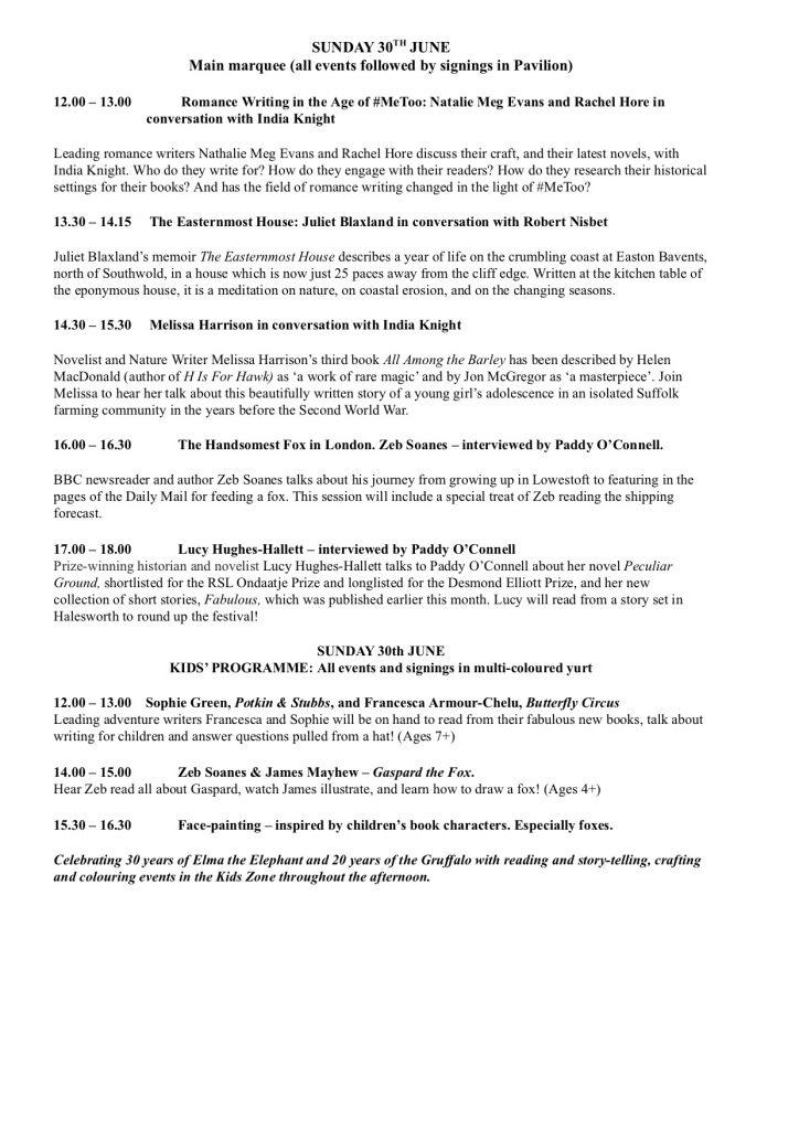 Low House LitFest Sunday Programme