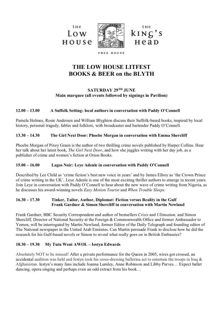 Low House Lit Fest Programme of Events